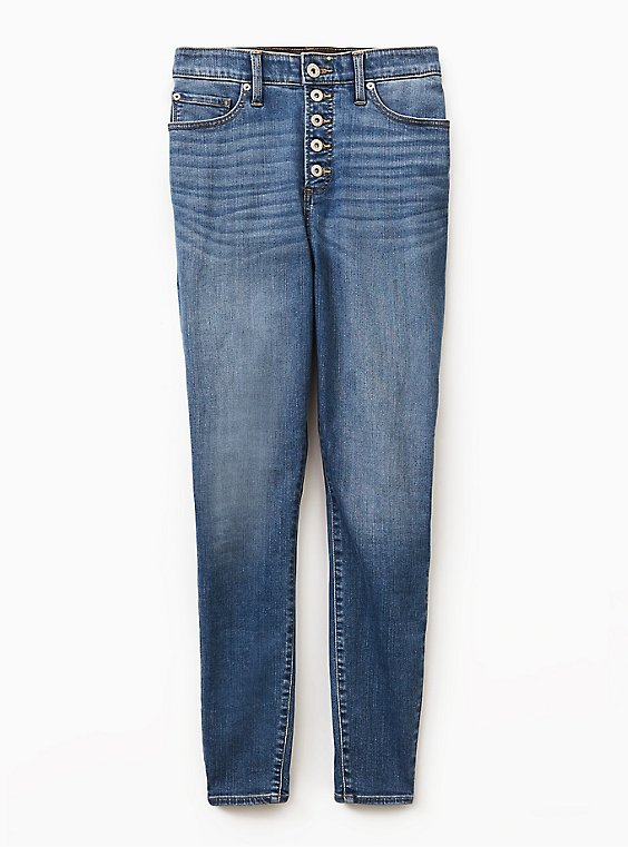 Sky High Skinny Jean - Premium Stretch Light Wash with Button Fly, , flat