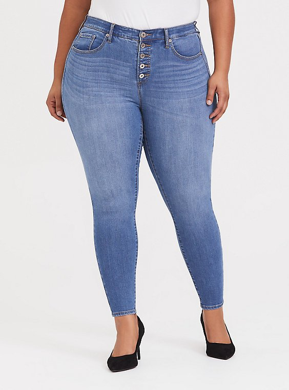 Plus Size Sky High Skinny Jean - Premium Stretch Light Wash with Button Fly, , hi-res