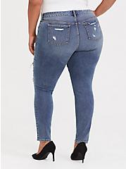 Classic Skinny Jean - Vintage Stretch Medium Wash with Plaid Inserts, PICK OF THE PATCH, alternate