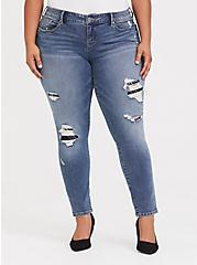 Classic Skinny Jean - Vintage Stretch Medium Wash with Plaid Inserts, PICK OF THE PATCH, hi-res