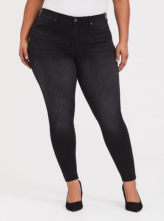 Plus Size Sky High Skinny Jean - Premium Stretch Washed Black, , hi-res
