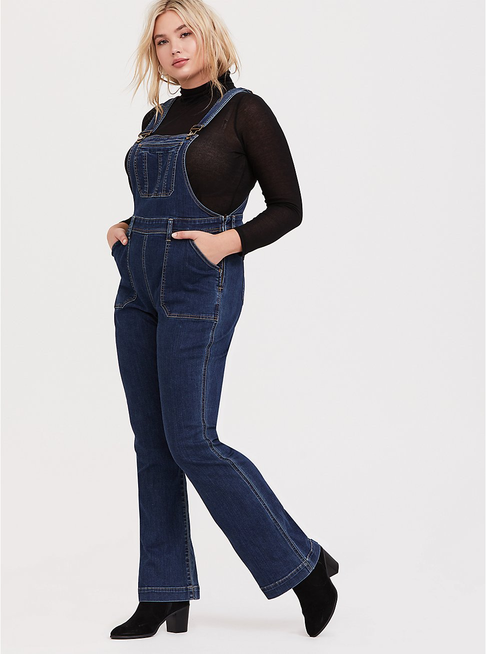 Flared Overall - Vintage Stretch Dark Wash, MEDIUM WASH, hi-res