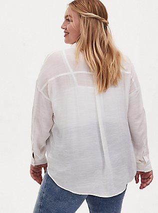 White Drop Shoulder Button Front Pocket Shirt, CLOUD DANCER, alternate