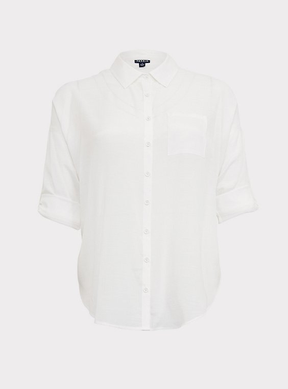 White Drop Shoulder Button Front Pocket Shirt, , flat