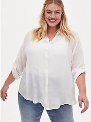 White Drop Shoulder Button Front Pocket Shirt, CLOUD DANCER, hi-res