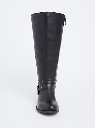 Black Faux Leather Studded Strap Tall Boot (WW), BLACK, alternate