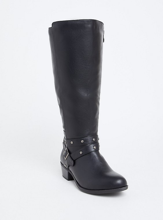 Plus Size Black Faux Leather Studded Strap Tall Boot (Wide Width), , hi-res
