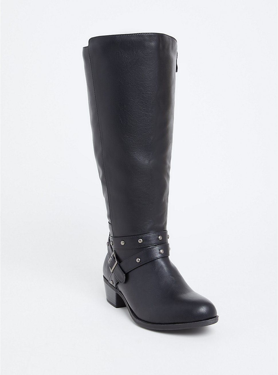Plus Size Black Faux Leather Studded Strap Tall Boot (Wide Width), BLACK, hi-res