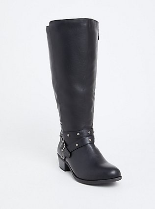 Black Faux Leather Studded Strap Tall Boot (Wide Width), BLACK, hi-res