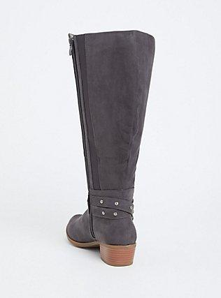 Plus Size Dark Grey Faux Suede Studded Strap Knee-High Boot (WW), GREY, alternate