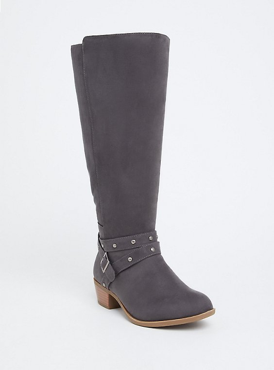 Dark Grey Faux Suede Studded Strap Knee-High Boot (WW), , hi-res