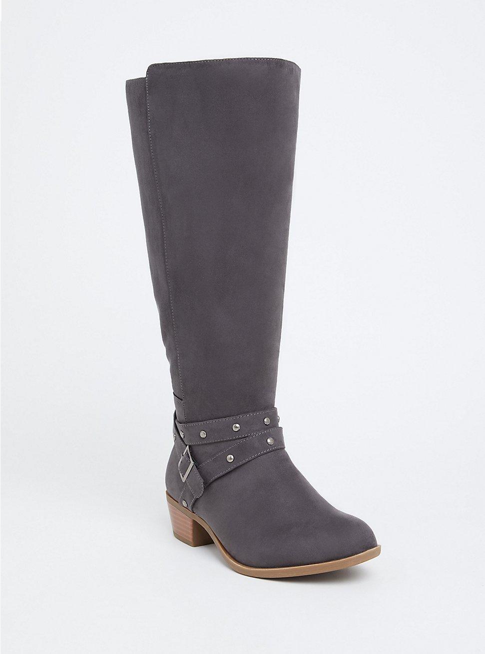 Dark Grey Faux Suede Studded Strap Knee-High Boot (WW), GREY, hi-res