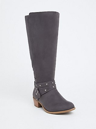 Plus Size Dark Grey Faux Suede Studded Strap Knee-High Boot (WW), GREY, hi-res