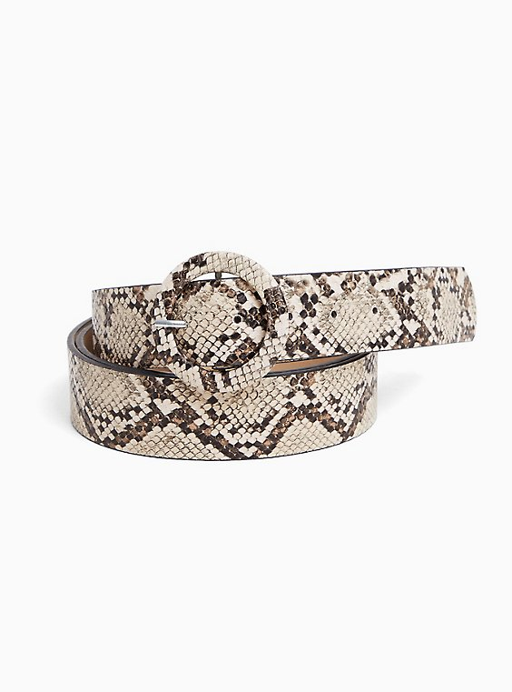 Taupe Snakeskin Print Faux Leather Belt, , hi-res