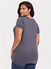 Plus Size Sunday Funday Slate Grey Triblend V-Neck Tee, DEEP BLACK, alternate