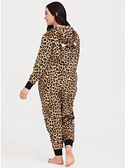 Leopard Fleece Sleep Onesie, MULTI, alternate