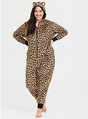 Leopard Fleece Sleep Onesie, MULTI, hi-res