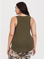 Olive Green Rib Henley Sleep Tank, OLIVE, alternate