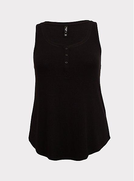 Black Rib Henley Sleep Tank, DEEP BLACK, hi-res