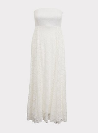 Special Occasions Ivory Lace Skirt Overlay Gown, CLOUD DANCER, flat