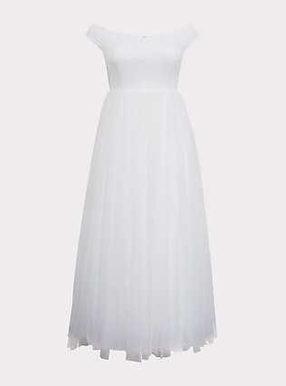 Special Occasion Ivory Off Shoulder Tulle Gown, CLOUD DANCER, flat