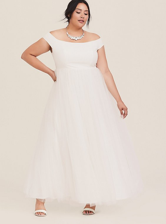 Plus Size Special Occasion Ivory Off Shoulder Tulle Gown, , hi-res