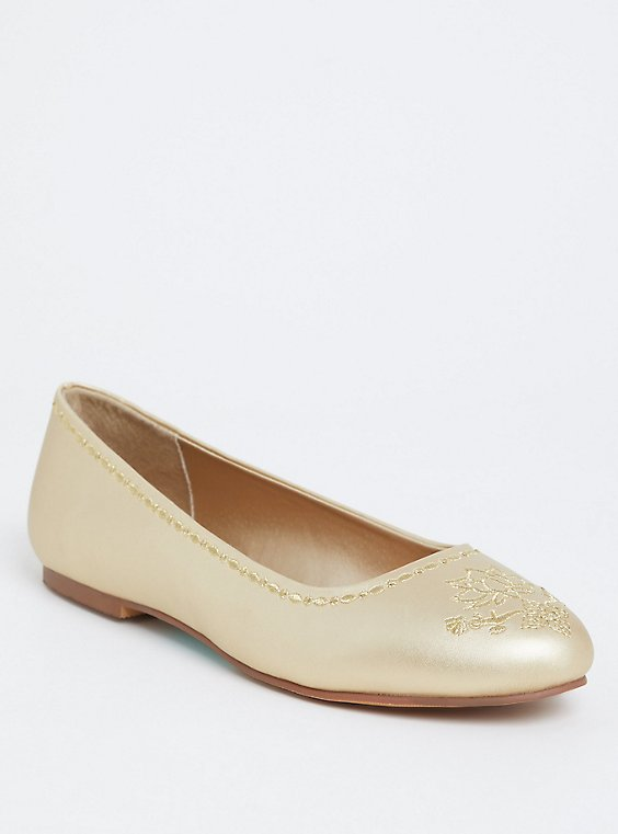 Plus Size Disney Jasmine Faux Leather Gold Flats (WW), , hi-res