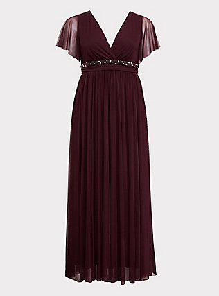 Special Occasion Burgundy Purple Mesh Beaded Belt Gown, WINETASTING, flat