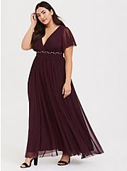Special Occasion Burgundy Purple Mesh Beaded Belt Gown, WINETASTING, hi-res