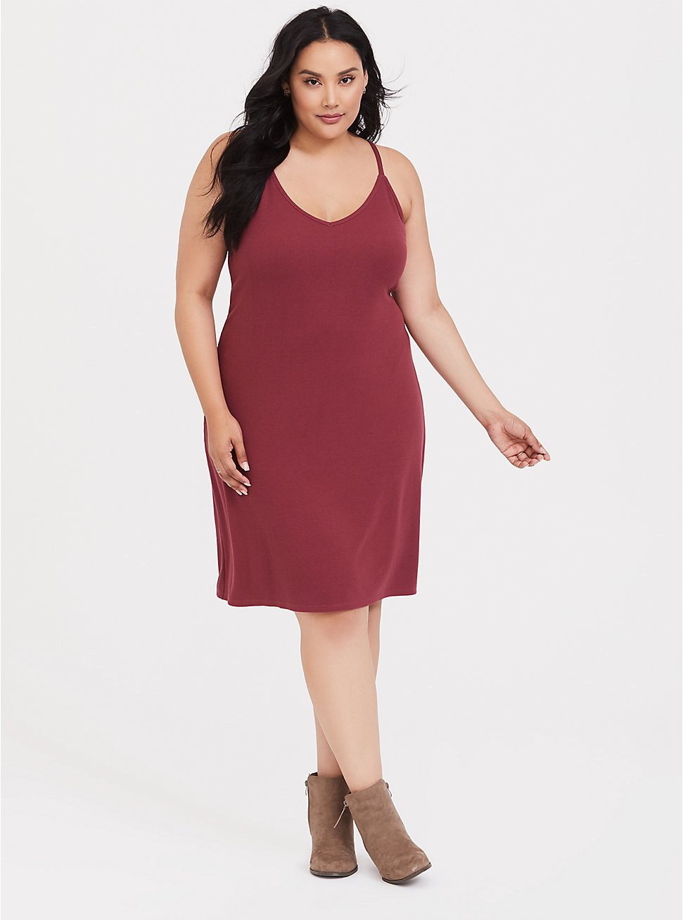 first look buy sale 100% high quality Plus Size - Dark Red Rib Mini Slip Dress - Torrid