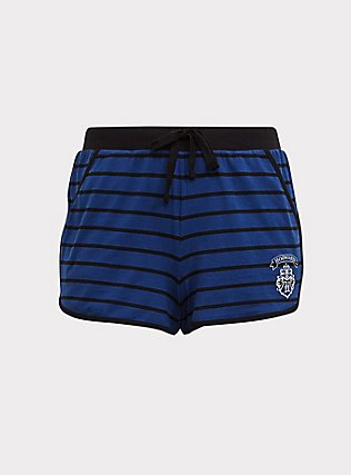 Harry Potter Triwizard Badge Blue Stripe Sleep Short, DEEP BLACK, flat