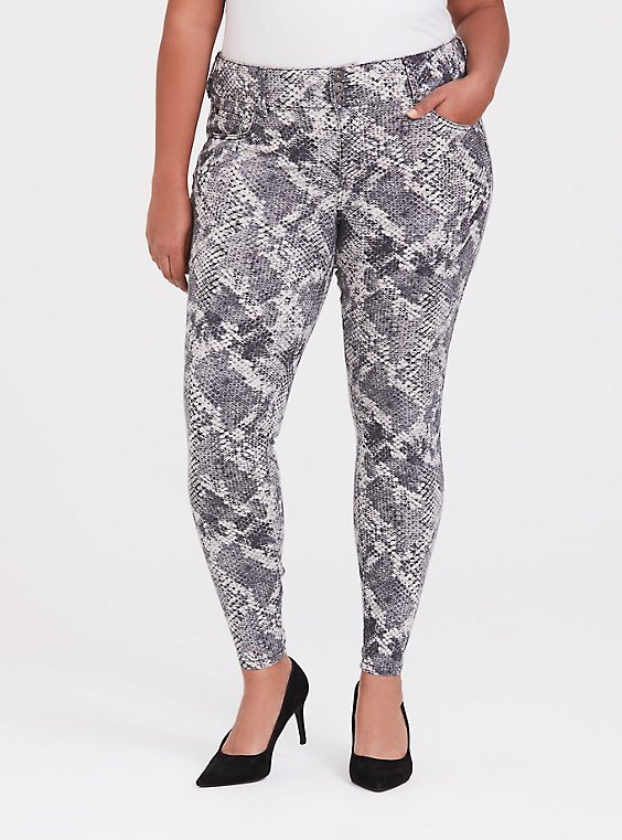 Jegging - Super Stretch Grey Snakeskin Print, , hi-res