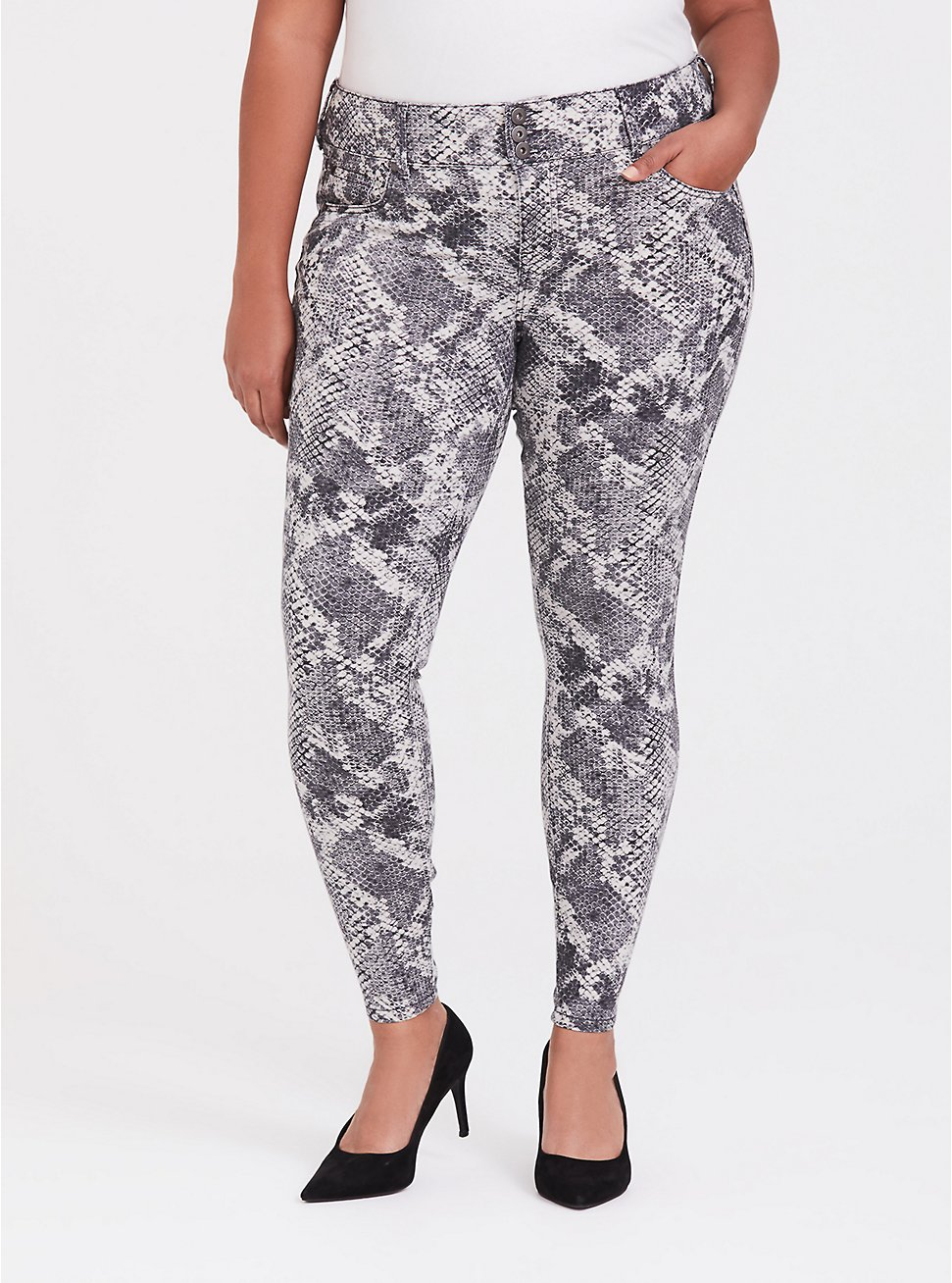 Jegging - Super Stretch Grey Snakeskin Print, SNAKE - BROWN, hi-res