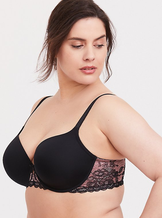 Plus Size Black & Pink Microfiber Lace Lightly Lined T-shirt Bra, , hi-res
