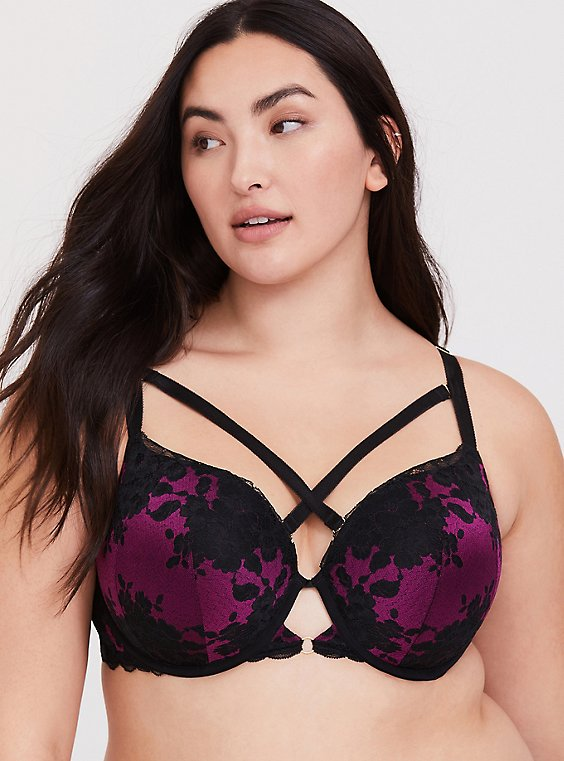 Plus Size Berry Purple & Black Lace Strappy Push-Up T-Shirt Bra, , hi-res