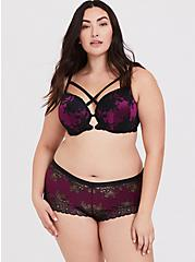 Berry Purple & Black Lace Strappy Push-Up T-Shirt Bra, , fitModel1-alternate