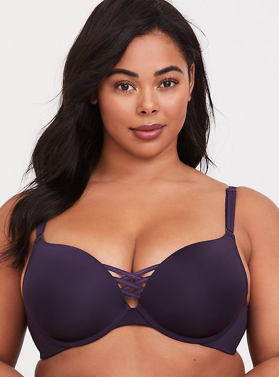 Plus Size Dark Purple 360° Back Smoothing™ Corset Push-Up Plunge Bra, , hi-res