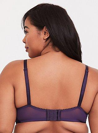 Dark Purple Banded Lace Corset Push-Up Plunge Bra, PLUM PURPLE, alternate