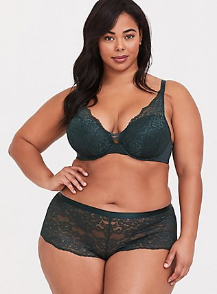 Dark Green Lace Overlay Corset Push-Up Plunge Bra, GREEN GABLES, alternate