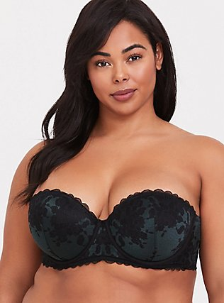 Forest Green & Black Strappy Lace Push-Up Strapless Multiway Bra, GREEN GABLES, alternate