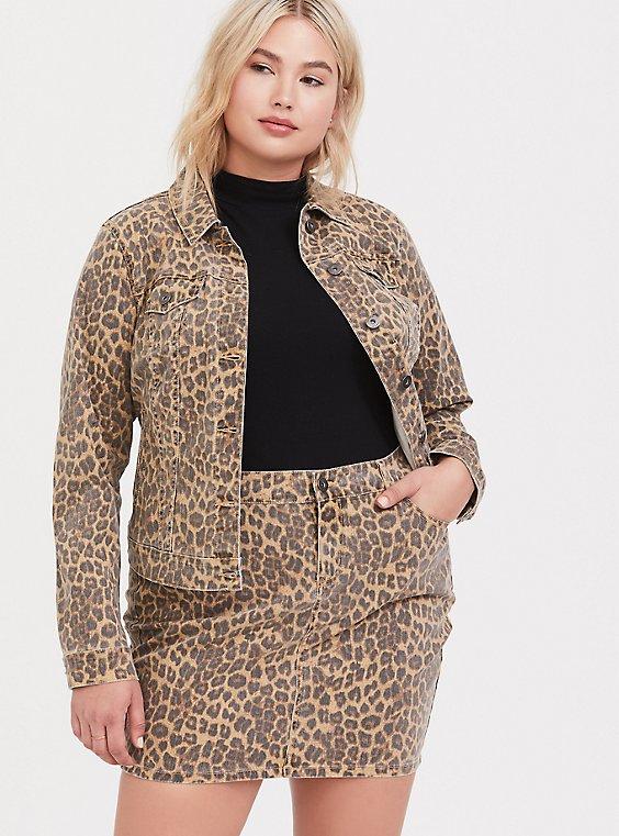 Leopard Denim Trucker Jacket, , hi-res