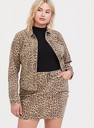 Leopard Denim Trucker Jacket, MIDI LEOPARD, hi-res