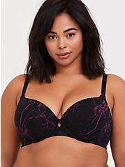 Plus Size Black & Purple Marble 360° Back Smoothing™ Lightly Lined T-Shirt Bra, METAL MARBLE-BLACK, hi-res