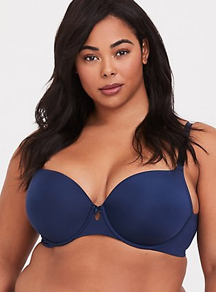 Navy Blue Microfiber 360° Back Smoothing™ Lightly Lined T-Shirt Bra, INDIGO GARDEN, hi-res