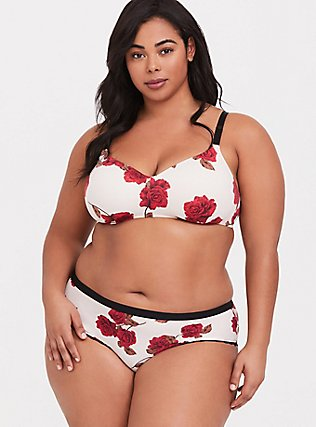 Ivory & Red Floral 360° Back Smoothing™ Lightly Lined Everyday Wire-Free Bra, ROMANTIC ROSES, alternate