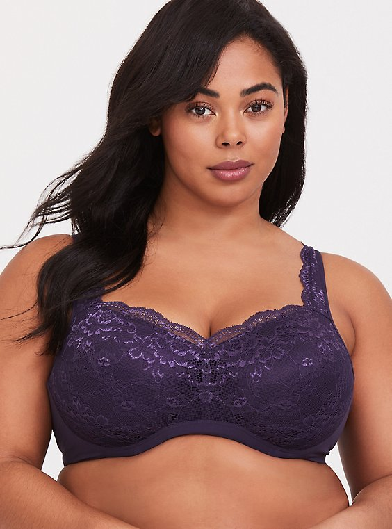 Dark Purple Lace Maximum Support Full Coverage Lightly Lined Bra , , hi-res