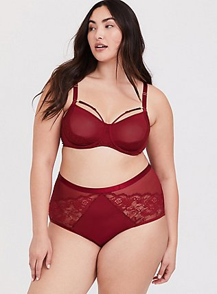 Plus Size Dark Red Sheer Lace & Mesh Strappy Unlined Demi Bra, BIKING RED, alternate