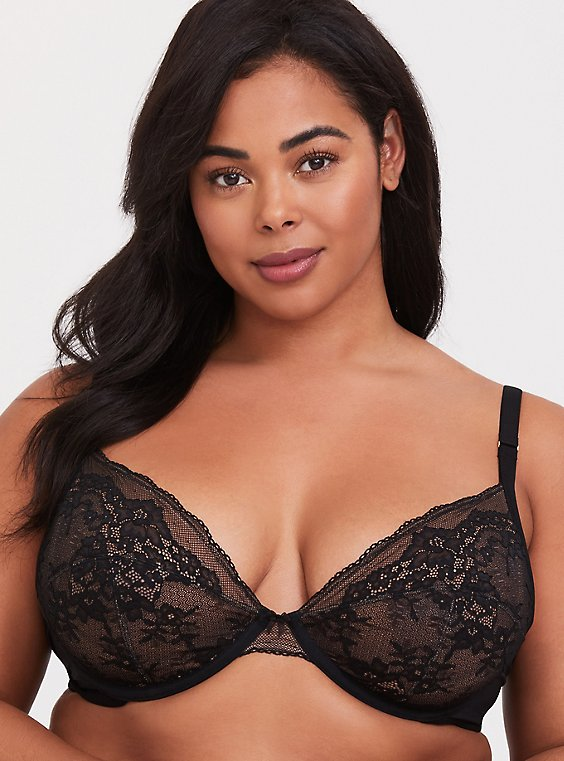 Plus Size Black Mesh & Lace Unlined Plunge Bra, , hi-res