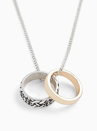 Plus Size Outlander Claire Silver-Tone Wedding Rings Necklace, , alternate