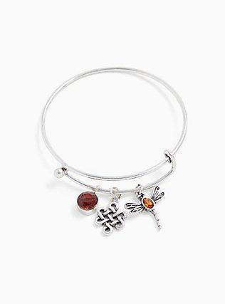 Plus Size Outlander Silver-Tone Charm Bangle Bracelet, , hi-res